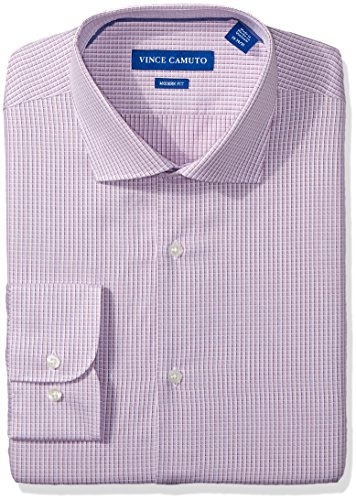 - VINCE CAMUTO Men's Modern Fit Checked Dobby Dress Shirt, Rose/White, 17.5 32/33