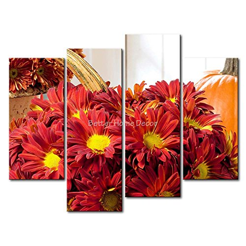 Red YEHO Art Gallery Painting Red Chrysanthemum And A Pumpkin Print On Canvas The Picture Flower (Pumpkin Patterns Printable)