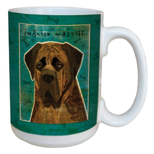 sg44037 Brindle English Mastiff by John W. Golden Ceramic Mug with Full-Sized Handle, 15-Ounce ()