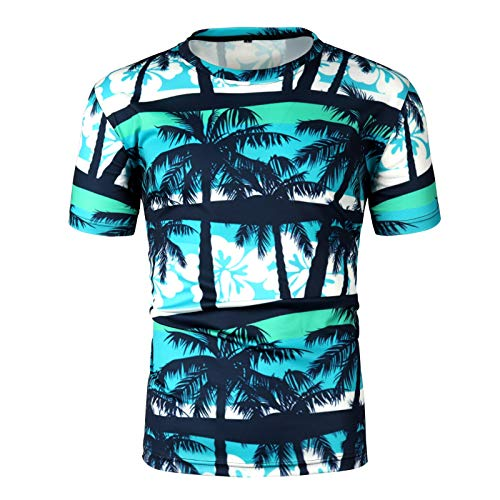 Casual 3D Print Hawaiian Short Shirts Fashion Men Round Neck Slim Blouse - Black Jacket Leather Champions