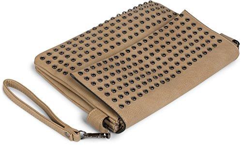 with evening studs Brown straps bag clutch 02012227 ladies Black bag shoulder styleBREAKER Color handle shoulder qZB5xSwn