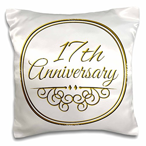 3dRose 17th Anniversary Gift - Gold Text for Celebrating Wedding Anniversaries - 17 Years Married Together - pillow Case, 16 by 16-Inch (pc_154459_1)