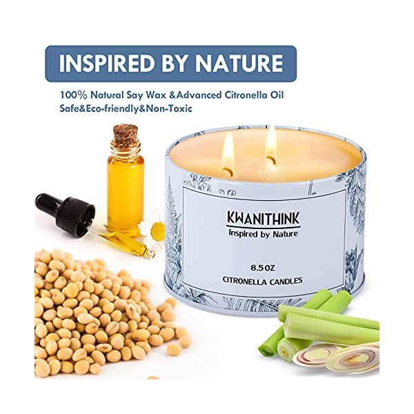 51kDaovHHSS KWANITHINK Citronella Kerze,2 x 36 Stunde Natürliche Sojawachs Kerzen, Duftkerze Citronella Kerzen outdoor perfekt für…