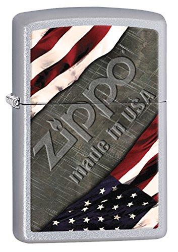 Zippo Lighter: American Flag and Metal - Satin Chrome 77001