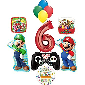 Amazon.com: RORARO Mario Birthday Party Pack-Banner-Balloons ...