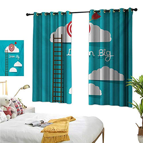 RuppertTextile Light Luxury high-end Curtains Dream Big Phrase with Dart Board Fluffy Clouds Staircase Optimistic Attitude 63
