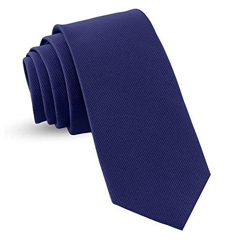Handmade Navy Blue Ties For Men Skinny Woven Slim Tie Mens Ties : Thin Necktie, Solid Color Neckties 3