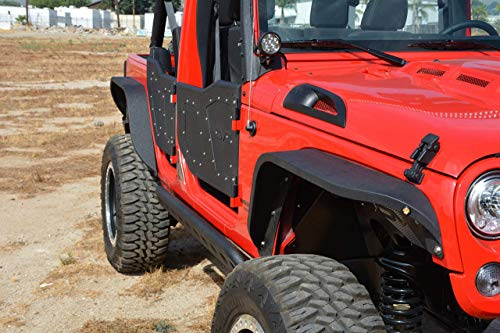 DV8 Jeep Wrangler Fender Flares Slim Style Front and Rear Aftermarket Offroad Fenders Perfect for 4x4 Fits 07-17 JK Model Includes Hardware for Easy Installation - Flares Fender Aftermarket