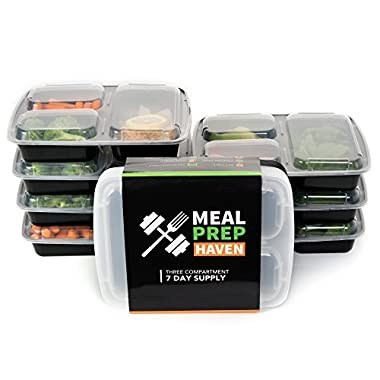 Meal Prep Haven 3 Compartment Stackable Food Containers with Lids, Bento Box / Lunch Containers, Reusable, Set of 7