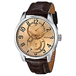 GUESS Men's U10646G1 Brown Retro Crocodile-Grained Leather Strap Watch