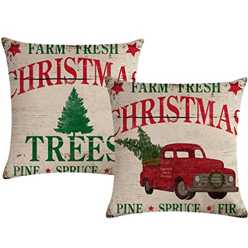 ULOVE LOVE YOURSELF 2Pack Christmas Throw Pillow Cushion Covers 18x18 Inch Farm Fresh Xmas Tree with Red Truck Home Decorative Square Pillowcases Set of 2 for Christmas Decor (Christmas Tree Shell's Farm)