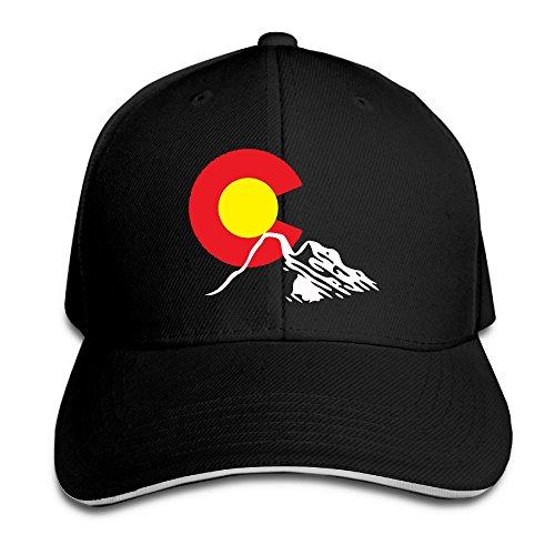 Flex Fit Sandwich Bill Cap (Ioekal Colorado Natural Mountain Baseball Hat Unisex Cotton Adjustable For Men's Vintage Flag Sandwich Cap)