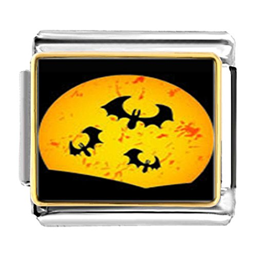 (GiftJewelryShop Gold Plated Three Halloween bat Moon Bracelet Link Photo Italian Charms)