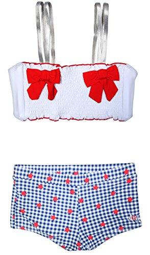 Betsey Johnson Girls Bikini 2-Piece Swimsuit, Red/Blue, Size 10' -