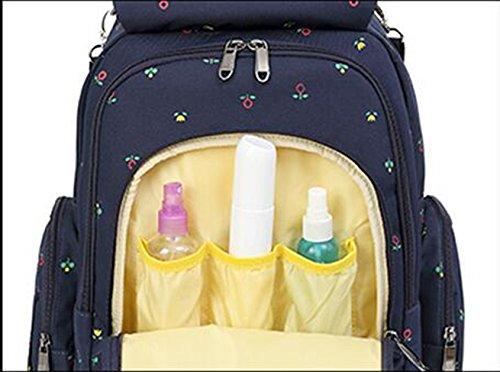 Mummy mochila, multi-funcional de gran capacidad de las mujeres embarazadas que se producen paquete, materna y el niño hombros bolsa, la mano bolsa de la madre ( Color : Blue flowers ) Black flowers