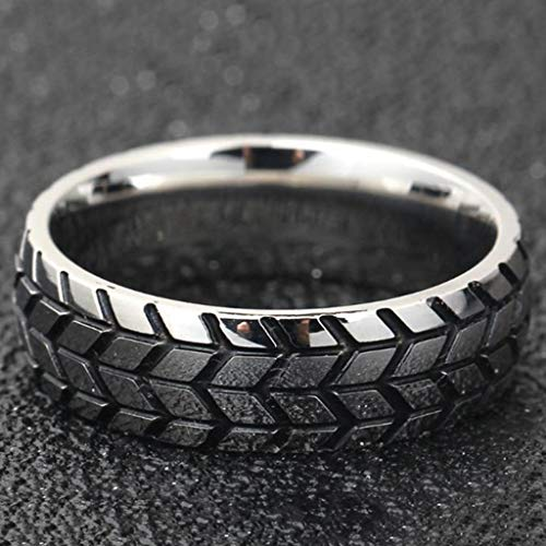 - Naomi Fashion 3D Titanium Rings Tire Mark Cool Ring for Men and Women Jewelry Silver 9