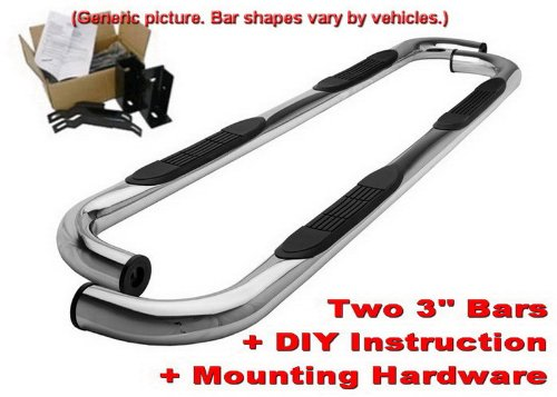 MaxMate Custom Fit 1999-2018 Chevy Silverado/GMC Sierra 1500/2500LD, 01-19 Chevy Silverado/GMC Sierra 2500/3500HD Extended/Double Cab Stainless Steel 3'' Side Step Rails Nerf Bars Running Boards by MaxMate (Image #7)