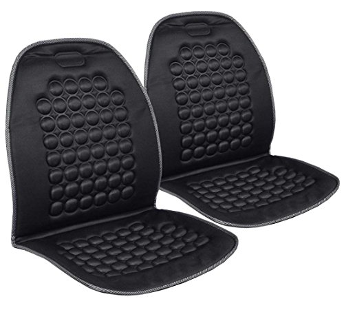 Pair of Magnetic Bubble Seat Cushions - Massage Therapy - 2pc Padded Covers (Black)