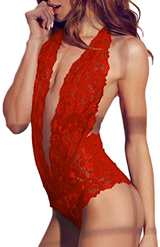 EVELUST Womens Sexy Open Back Halter Plunging Teddy,Comfortable Scalloped Trim Lace - Slips Lingerie