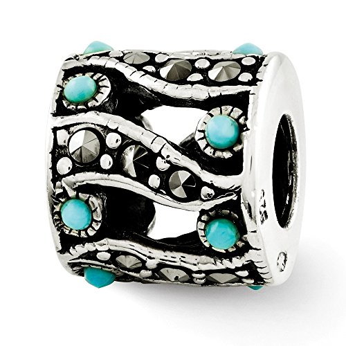 925 Sterling Silver Charm For Bracelet Marcasite Blue Turquoise Bead Stone Crystal Fine Jewelry Gifts For Women For Her