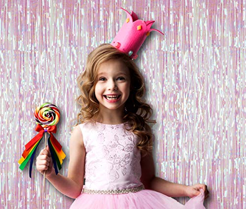 Treasures Gifted Pack of 2 White Rainbow Iridescent Foil Fringe 3 x 8 Feet Metallic Tinsel Laser Curtains Photo Booth Prop Backdrop Decoration for Unicorn Baby Shower Birthday Party