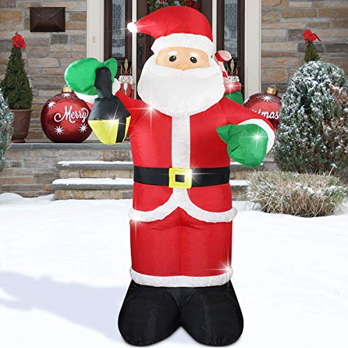 Fashionlite 6 FT Inflatable Santa Claus Lighted Blow-Up Airblown Inflatable for Indoor Outdoor Yard Party Decoration