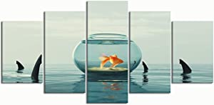 PENGTU Paintings Modern Canvas Painting Wall Art Pictures 5 Pieces, Goldfish Aquarium Surrounded by Sharks This,Wall Decor HD Printed Posters Frame