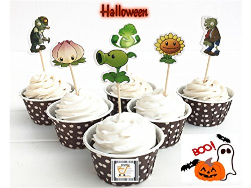Topstuffsz Plants vs. Zombies Cupcake Toppers ,Halloween, Birthday, Event Parties Favors for Kids & Adults Cupcake Accessory Decoration Supplies, (Serve 24)