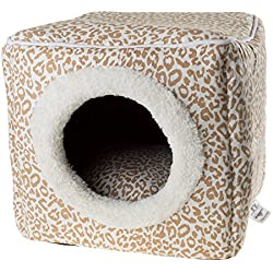 PETMAKER Cat Pet Bed Cave, Indoor Enclosed Covered Cavern/House for Cats Kittens and Small Pets with Removable Cushion Pad