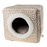 PETMAKER Cat Pet Bed Cave- Indoor Enclosed Covered Cavern/House for Cats Kittens and Small Pets with Removable Cushion Pad, Tan/White Animal Print