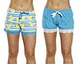 6334-10101-XS Just Love Womans Pajamas Shorts - PJs - Sleepwear (Pack of 2),Turquoise - Aztec Ducky (Pack of 2),X-Small