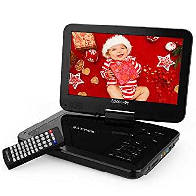 Spacekey Portable DVD Player with 4 Hours Rechargeable Battery, Swivel Screen, Support USB/SD Slot and 1.8M Car Charger, Support Memory and Region Free