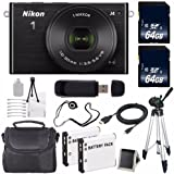 Nikon 1 J4 Mirrorless Digital Camera with 10-30mm Lens (Black) (International Model No Warranty) + EN-EL22 Battery + 64GB SDXC Memory Card + 6AVE Bundle