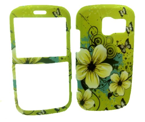 Green Flower Rubberized Snap on Hard Skin Shell Protector Cover Case for Pantech Link P7040