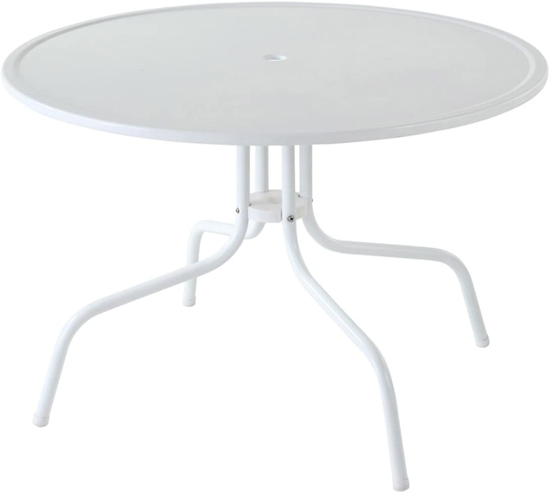 Crosley Furniture Griffith 40-Inch Metal Outdoor Dining Table – Alabaster White