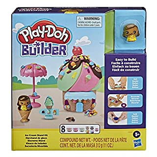 Play-Doh Builder Ice Cream Stand Toy Building Kit for Kids 5 Years and Up with 8 Cans of Non-Toxic Modeling Compound - Easy to Build DIY Craft Set
