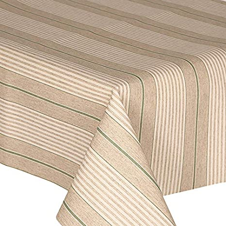 Acrylic Coated Tablecloth Harbour Stripe Green 3 Metres 300cm X 140cm Linen Look Stripes Lines French Ticking Effect Latte Beige White Mint Wipe Clean Polycotton Table Cloth Amazon Co Uk Kitchen Home