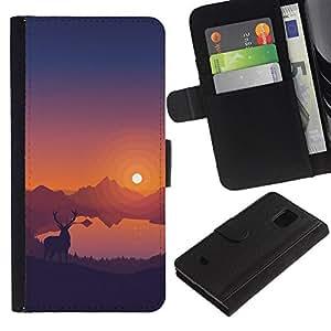 LECELL--Cuero de la tarjeta la carpeta del tirón Smartphone Slots Protección Holder For Samsung Galaxy S5 Mini, SM-G800 -- Estimado Sunset --