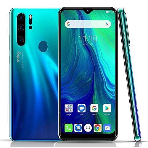Unlocked 4G Smart Cell Phone 6.3in Full Face Touchscreen Android 9 Google Play Store Fingerprint ID - AT&T T-Mobile (Ocean Cyan Blue)