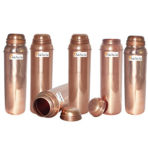 850ml / 28.74oz - Set of 6 - Prisha India Craft ® Pure Copper Water Bottle for Health Benefits - Water Pitcher Bottles - Handmade Christmas Gift Item by Prisha India Craft