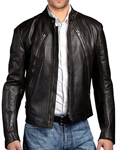 Leather Leather Black Junction Uomo Uomo Leather Giacca Junction Black Giacca 66xq4wrg