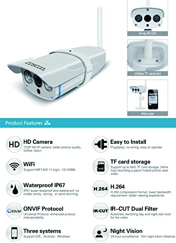 CosCool IP Camera 720P Wireless,Outdoor/Waterproof IP67 level,Surveillance Wifi Camera Network IP Security WebCam,Night Vision 15M,ONIVF Supported,With Metal Housing IP Camera by CosCool (Image #1)
