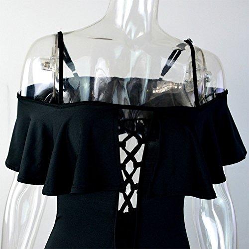 Vandot Mujeres Una Pieza Hueco Bikini Traje De Baño Playa Monokini Beachwear Bathing Suit, Rojo, Tamaño S Off-Shoulder 01