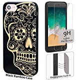 iProductsUS Skull Phone Case Compatible with iPhone 8 Plus, 7 Plus, 6 Plus, 6s Plus and Screen Protector-Black Bamboo Wood Case Engrave Sugar Skull,Built-in Metal Plate,TPU Protective Cover (5.5 inch)
