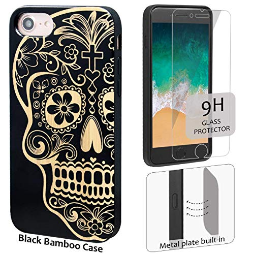 iProductsUS Skull Phone Case Compatible with iPhone 8,7,6/6S and Screen Protector-Black Bamboo Wood Cases Engraved Sugar Skull, Built-in Metal Plate, TPU Rubber Protective Covers (4.7 inch)
