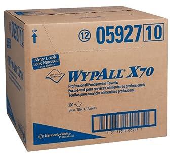 "Kimberly-Clark Wypall X70 Hydroknit Foodservice Towel, 23-1/2"" Length x 12-1/2"" Width, Blue (Case of 300)"