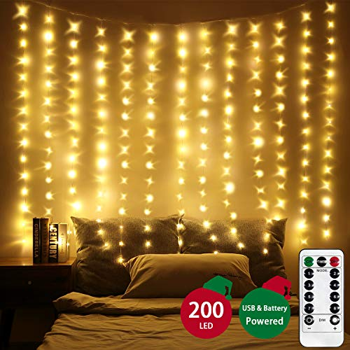 LED Window Curtain Lights, Photo Backdrop Lights Warm White Twinkle String Lights with Remote Control for Wedding Party Bedroom Wall Christmas Decorations 6.5 x 5 ft