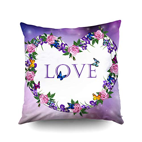 KIOAO Best Pillow,Square Throw Pillowcase Covers Standard Valentines Day Heart with Iris and Rose Flower On Colorful Background Illustration Wallpaper Printed with Both Sides 20X20Inch
