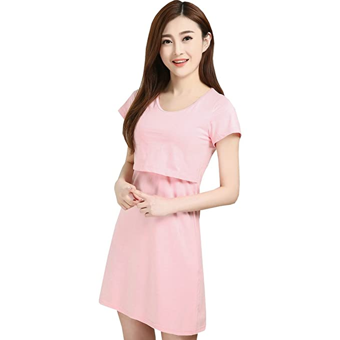 91d68efdf2dd7 Women s Shelf Bra Short Sleeve Breastfeeding Nightgown Nursing Maternity  Dress 2XL