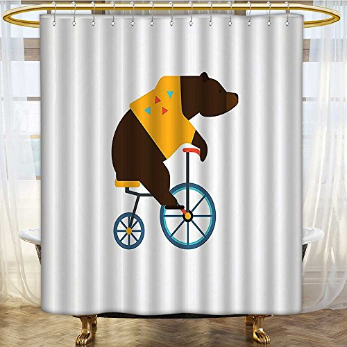 Mikihome Shower Curtain Customized Teddy Bear Icon of